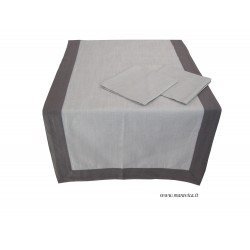 Table runner with beige and brown cotton napkins made in...