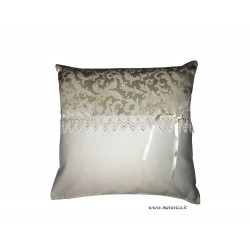 Shabby chic cushion  with macramé lace handmade made in...