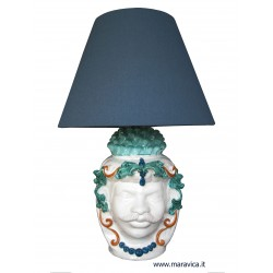 Sicilian moorish head lamp ceramic Caltagirone