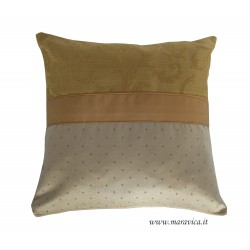 Elegant classic cushion beige and gold damask handmade...
