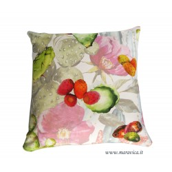 Cushion in cotton green prickly pear sicily collection