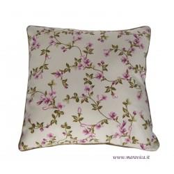 Cuscino shabby chic fiori rosa in rasatello di cotone