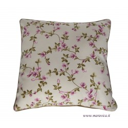Cushion with pink flowers in cotton sateen made in Italy