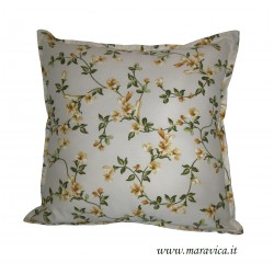 Cushion with flowers in handmade cotton sateen made in Italy