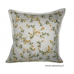 Cushion with yellow flowers in cotton handmade made in Italy