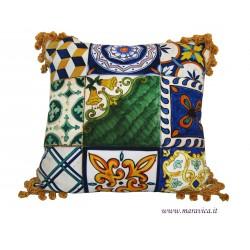 Cuscino arredo in cotone maiolica siciliana con...