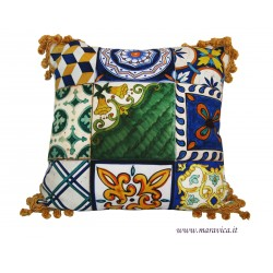 Decorative cushion in cotton sicilian majolica sicily...