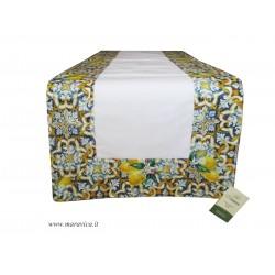 Runner da tavolo in cotone stampa maiolica e limoni