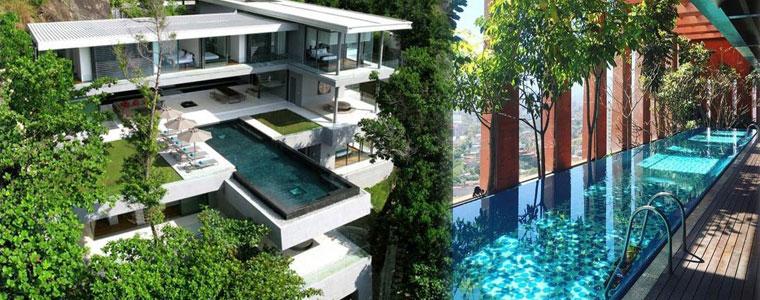 terrazzo con piscina